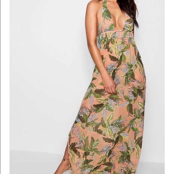 3925287c215da Boohoo Swim | Leaf Print Maxi Beach Dress | Poshmark